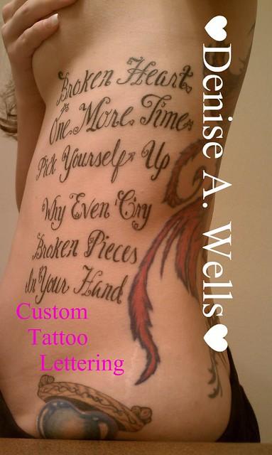 Lyrics Lettering Tattoo Design by Denise A. Wells