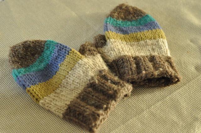 stripey mittens.