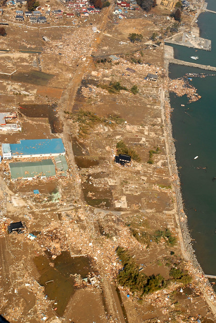 Aerial of tsunami damage near Sendai, Japan.