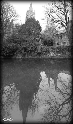 Cathedral reflection in the Millpool by Stocker Images
