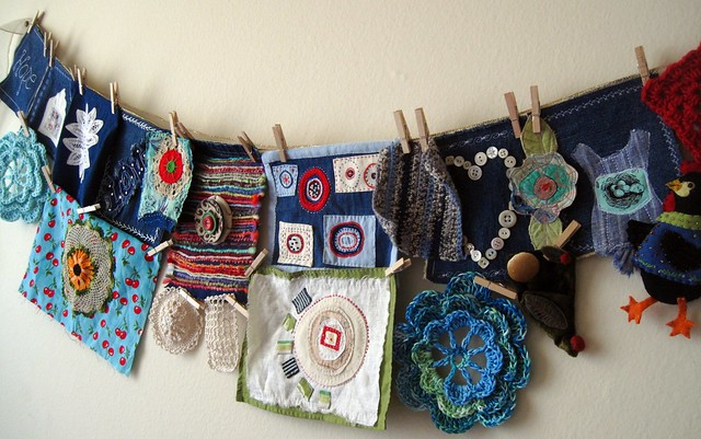 the clothesline....unfinished fabric art