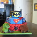 superheroes cake.  The Hulk, Spiderman, Superman, Batman.