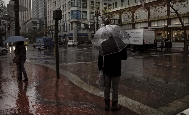 Umbrellas on Market Street.  San Francisco (2011)