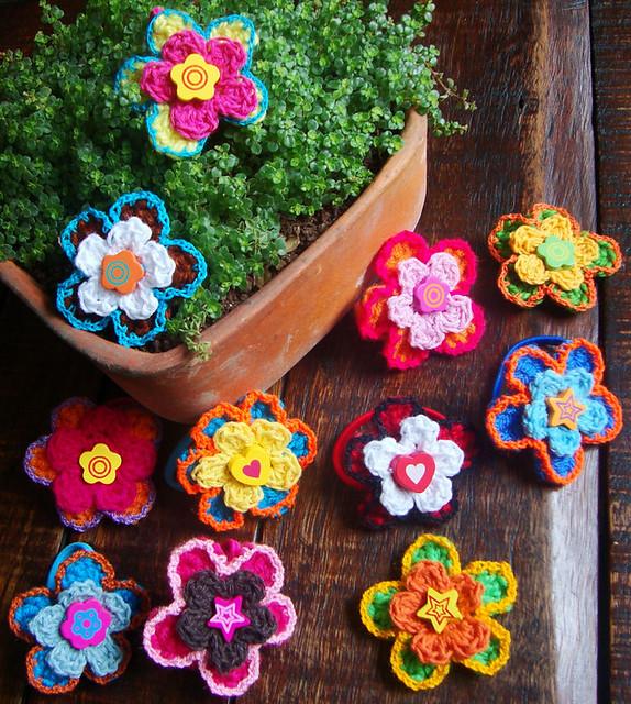 colas cabello-flores tejidas a crochet (¡más de 3.300 vistas ...