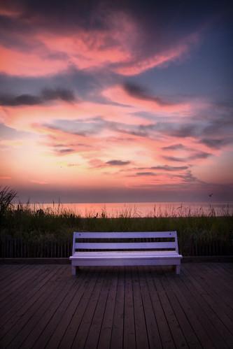 park beach sunrise canon bench delaware rehobeth 1635mm 40d
