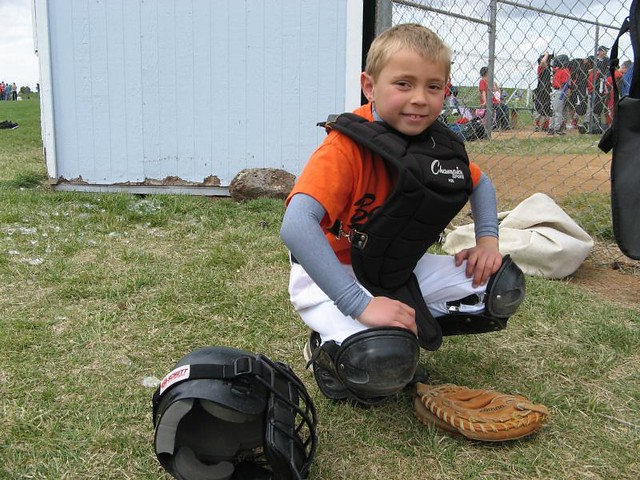 Spencer in Catcher Gear