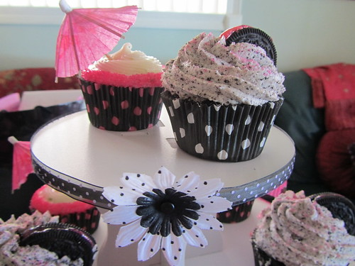 Pink and Black Polka Dot Bridal Shower Cupcake Tower