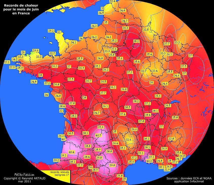 records de chaleur des températures maximales pour le mois de juin en France Reynald ARTAUD météopassion