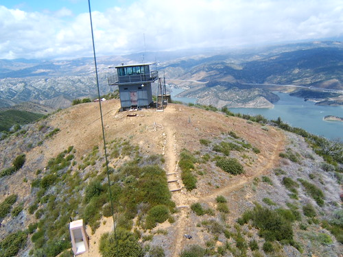 Slide Mountain Lookout with outhouse, and Pyramid Lake