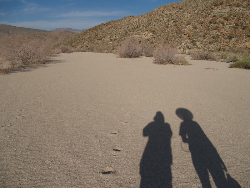 Our shadows as we walk down the big dry wash into the Collins Valley