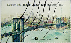 wonderful stamp Germany 145c Brooklyn Bridge (USA) stamp Johann August Roebling Röbling engineer of Brooklyn Bridge Hudson River New York timbre allemagne selo sello alemanha francobolli Germany bollo postage special issue