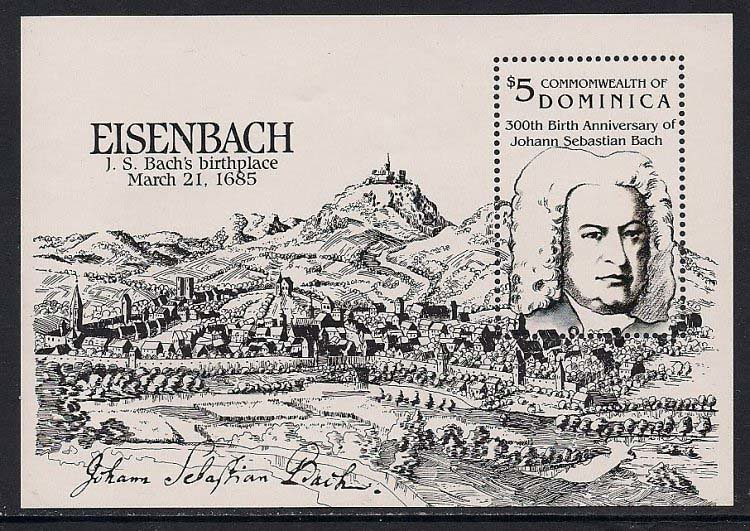 Bach on Stamps - Coonwelth of Dominica, 1985