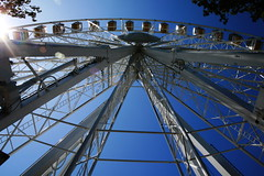 tourist attraction, landmark, blue, amusement ride, ferris wheel, amusement park,