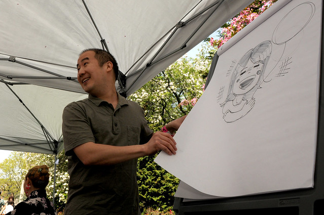 A demonstration on anime drawing at the Osborne Garden. Photo by Mike Ratliff.