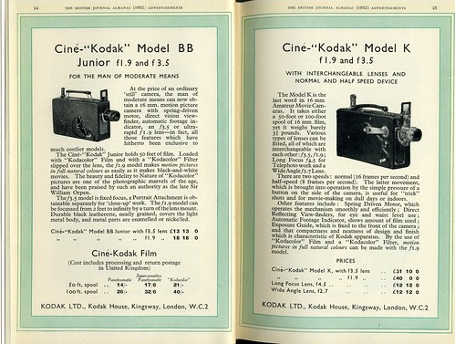 Cine-Kodak Model BB and K movie cameras 1932