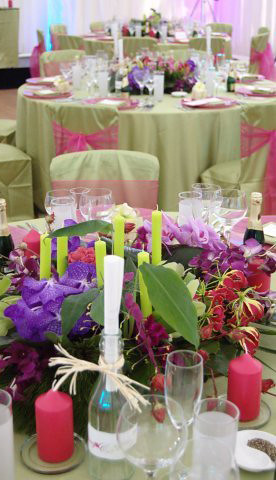 88 Events designs a Wedding at a Private Marquee - Apple Faux Silk Tablecloths and Chair Covers with Fuchsia Organza Seat Ties