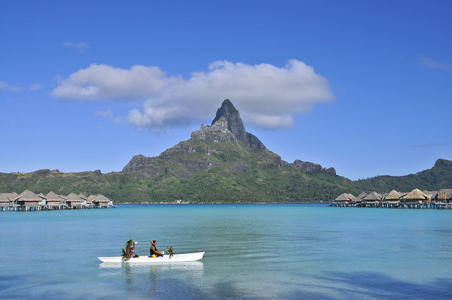 InterContinental Bora Bora Resort & Thalasso Spa Mont otemanu and Outrigger canoe