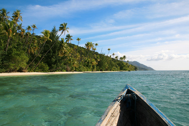 The beautiful landscape of the Indonesian beach paradise in Raja Ampat.