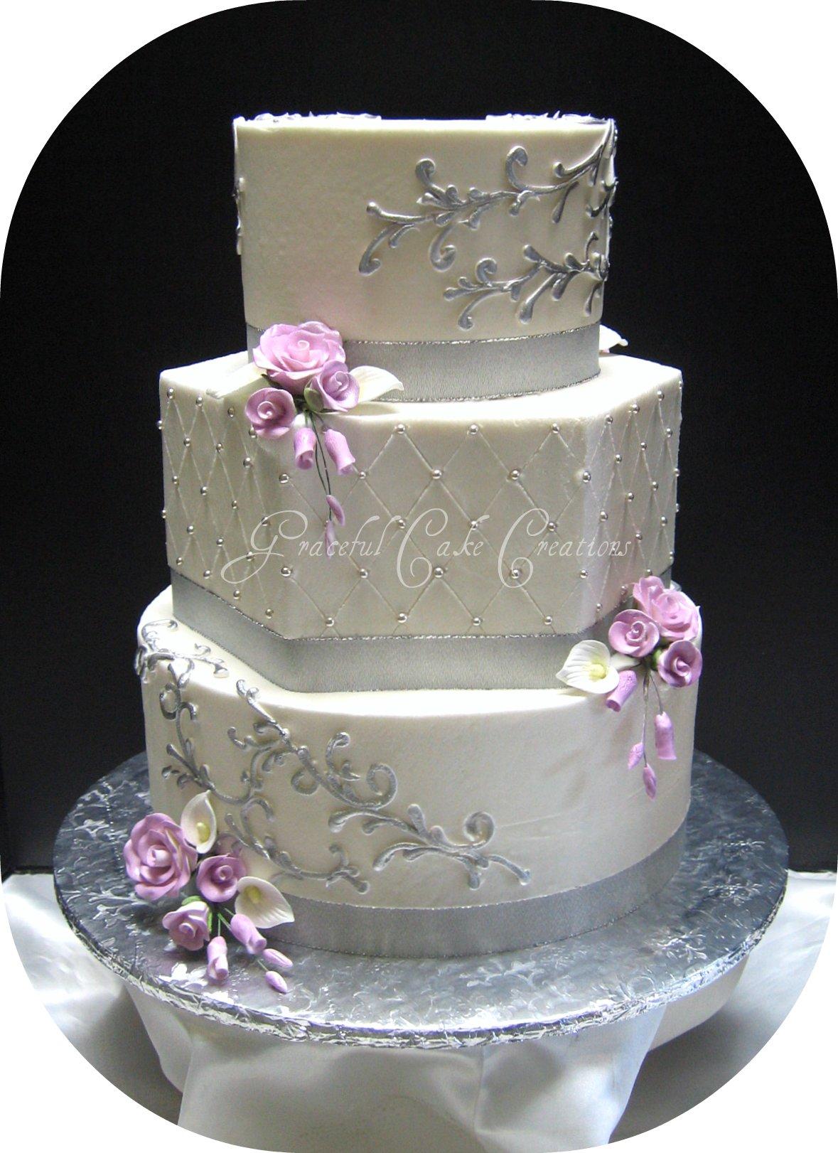 Elegant Silver and White Wedding Cake