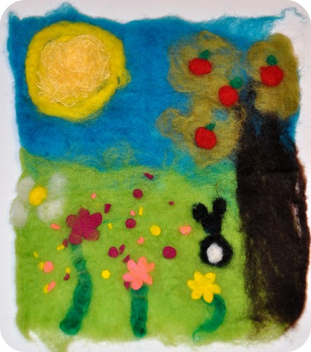 Rosy posy painting with wool wet felting for Felt arts and crafts