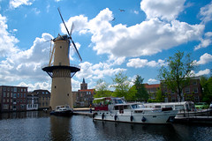 A Mill a Boat and  Church thats the way i spell Schiedam