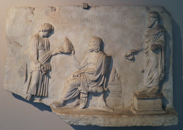 Late-Hellenistic relief honouring the tragic playwright Euripides (c. 480 – 406 BCE), from the vicinity of Smyrna (Izmir), Istanbul Archeology Museum