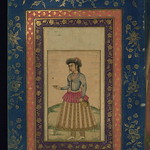 Album of Persian and Indian calligraphy and paintings, Female attendant holding a ewer and cup, Walters Manuscript W.668, fol.19a