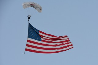 The American Flag with skydiver