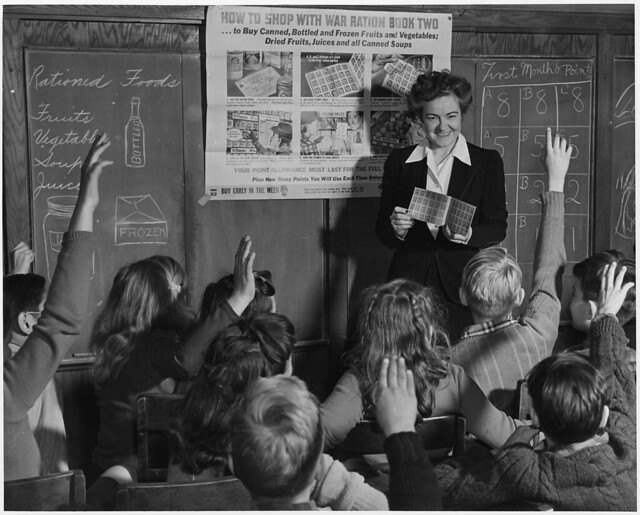 Catherine M. Rooney, 6th grade teacher instructs her alert pupils on the way and how of War Ration Book Two from Flickr via Wylio