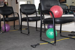 Chair exercises set up for a class at HOPEFitness in North Bellmore, N.Y.