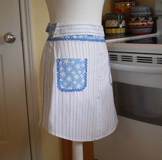 Upcycled Men's Shirt Apron - Stripes with Daisies on Blue