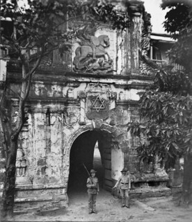 Fort Santiago main gate with six pointed star above doorway, late 19th or early 20th century. Intramuros, Manila, Philippines