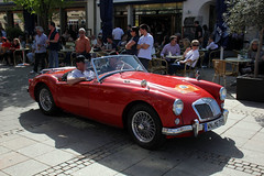 race car, automobile, vehicle, automotive design, mg mga, antique car, classic car, vintage car, land vehicle, sports car,