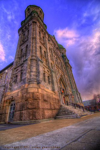 sunset sky urban sun fall church clouds river ma catholic cathedral hdr massachussetts guerrillas saintannes