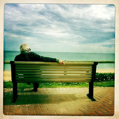 man beach water clouds bench alone stranger christies erth hipstamatic