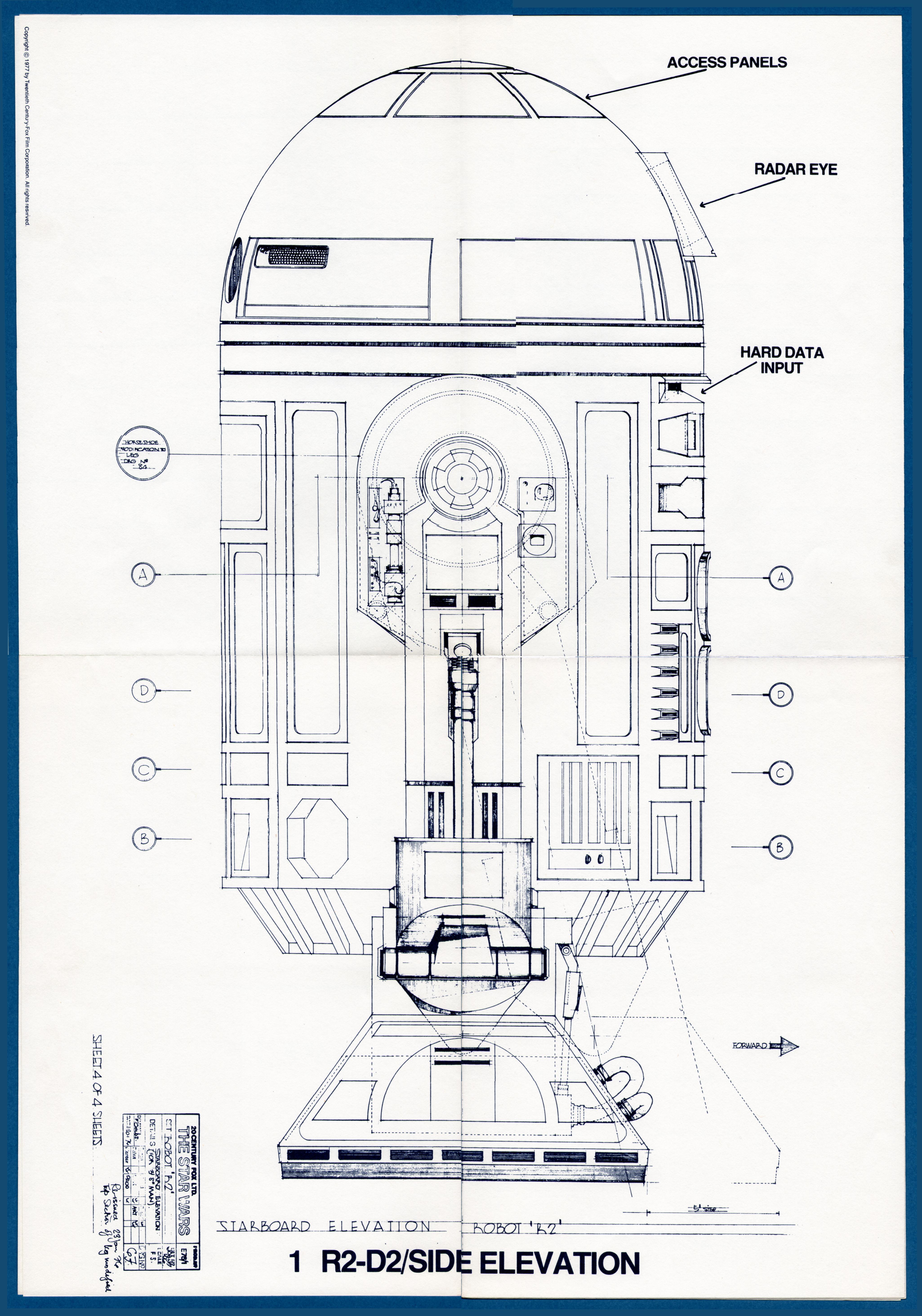 R2 d2 side elevation blueprint blueprints pinterest for Buy blueprints online