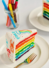 Rainbow Doodle Birthday Cake Sliced
