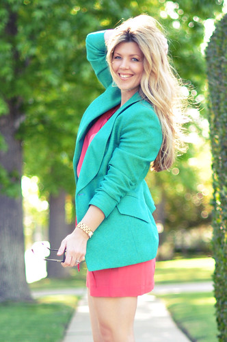 vintage  Tahari   green teal blazer and coral dress