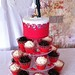 Red hearts wedding cake and cupcakes