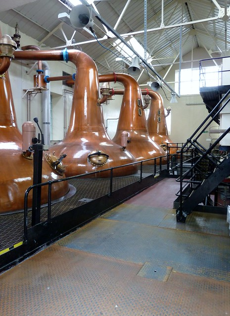 Whisky stills at Highland Park Distillery, Orkney, Scotland