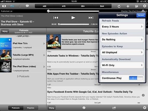 Downcast op de iPad