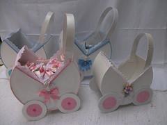 Cesto para as lembranças em forma de carrinho de bebé