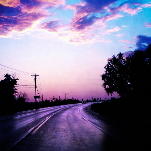 cameraphone road pink storm wet car clouds headlights powerlines iphone 366