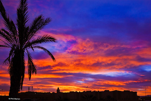 sunrise over  Marrakech, Morocco