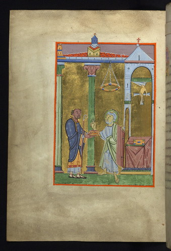 Illuminated Manuscript, Reichenau Gospels, Dedication image with St. Peter, Walters Art Museum Ms. W.7, fol. 9v by Walters Art Museum Illuminated Manuscripts