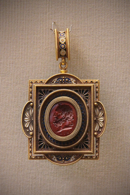 Intaglio-set jewels, Italian, about 1870