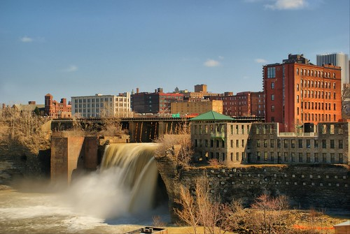 city waterfall day rochester clear hdr geneseeriver wny highfalls monroecounty