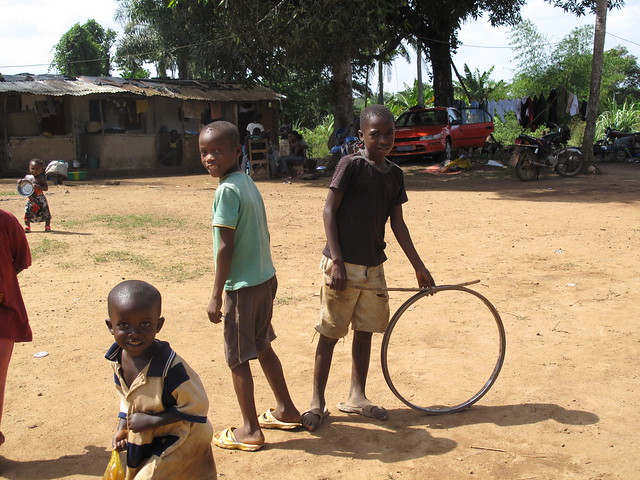 Children playing at Harper transit site, Liberia
