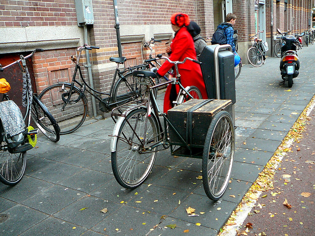gazelle fiets met zijspan bicycle with side car v lo avec side car amsterdam admiraal de. Black Bedroom Furniture Sets. Home Design Ideas