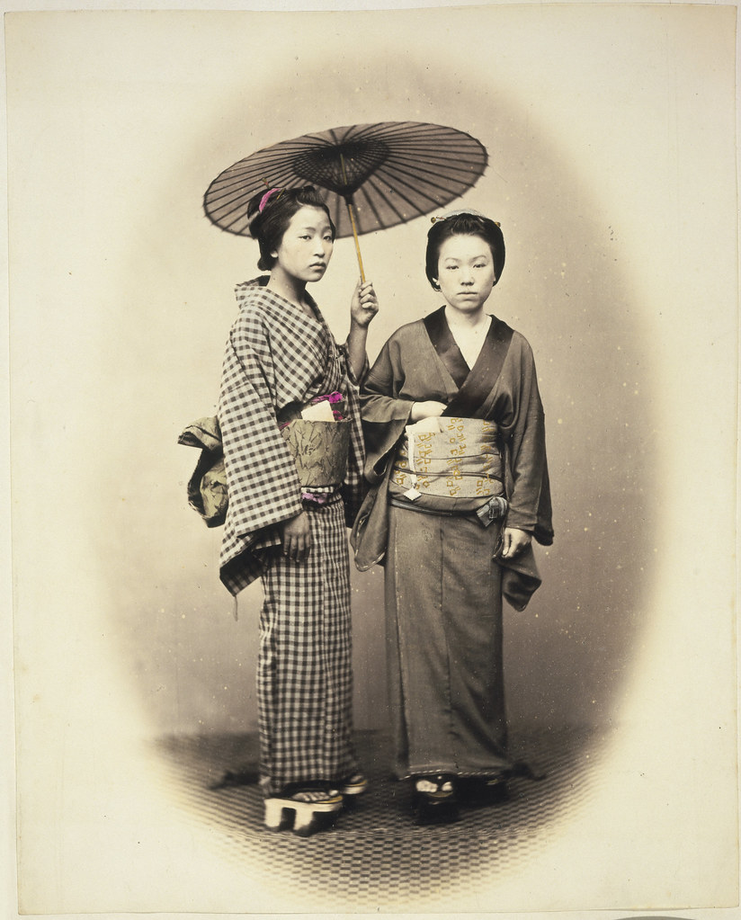 Two women with parasol, Japan